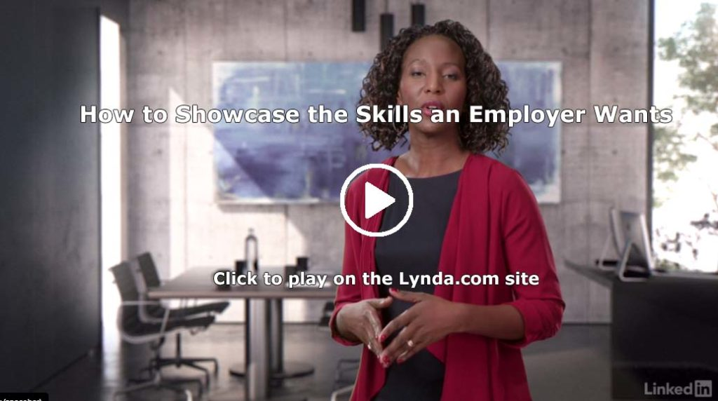 Screenshot of Lynda.com video on Resume Skills